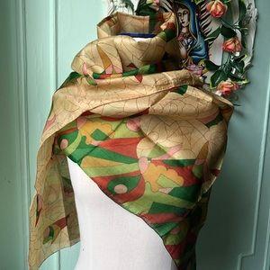 Rusted Pumpkin vintage silk scarf .